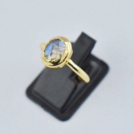 Moonstone Gemstone Brass Gold plated Ring US Size 6 Woman Teen Ring