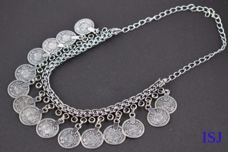 1 Pic Vintage Style Antique Finish Necklace Women Jewelry, Bohemian Antique Silver Necklace 20
