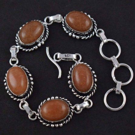 Yellow Aventurine Brass Silver Plated Gemstone Womens Adjustable Bracelet 9
