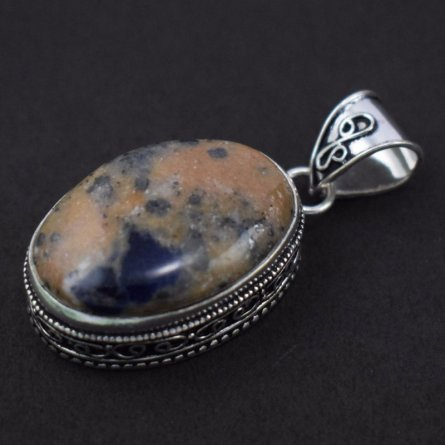 Brass Silver Plated Honey Dendritic Agate Cabochon Gemstone Pendant Necklace
