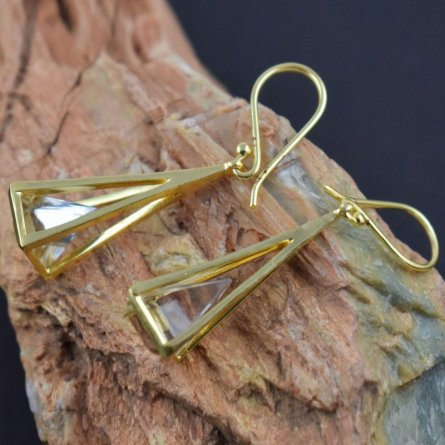 Pyramid Crystals Gemstone Gold Plated Earrings Art Fashion Jewelry