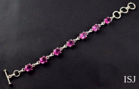 Tourmaline Pink Sterling Silver Bracelet, Silver Designer Bangles Cuff Jewelry, Cuff Bracelets, Char