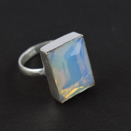 LOVELY DESIGN OPALITE HYDRO GEMSTONE SILVER PLATED STATEMENT RING US SIZE-