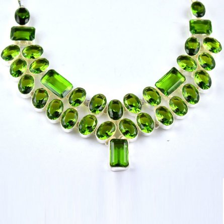 Peridot Hydro Gemstone Brass Sliver Plated Woman Teen Necklace